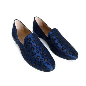 Banana Republic Blue Demi Jacquard Leopard Loafers